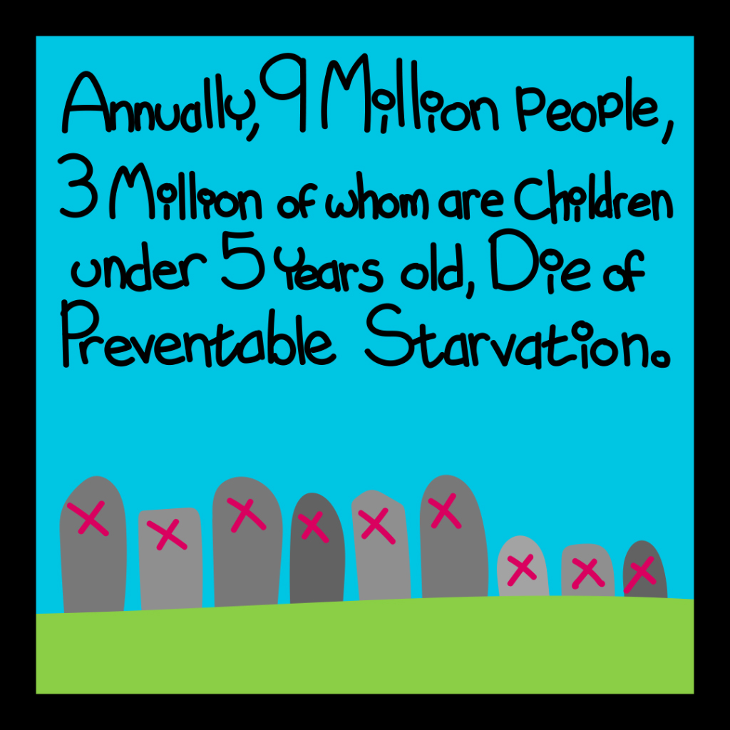 Annually, 9 million people, 3 million of whom are children under 5 years old, die of preventable starvation.