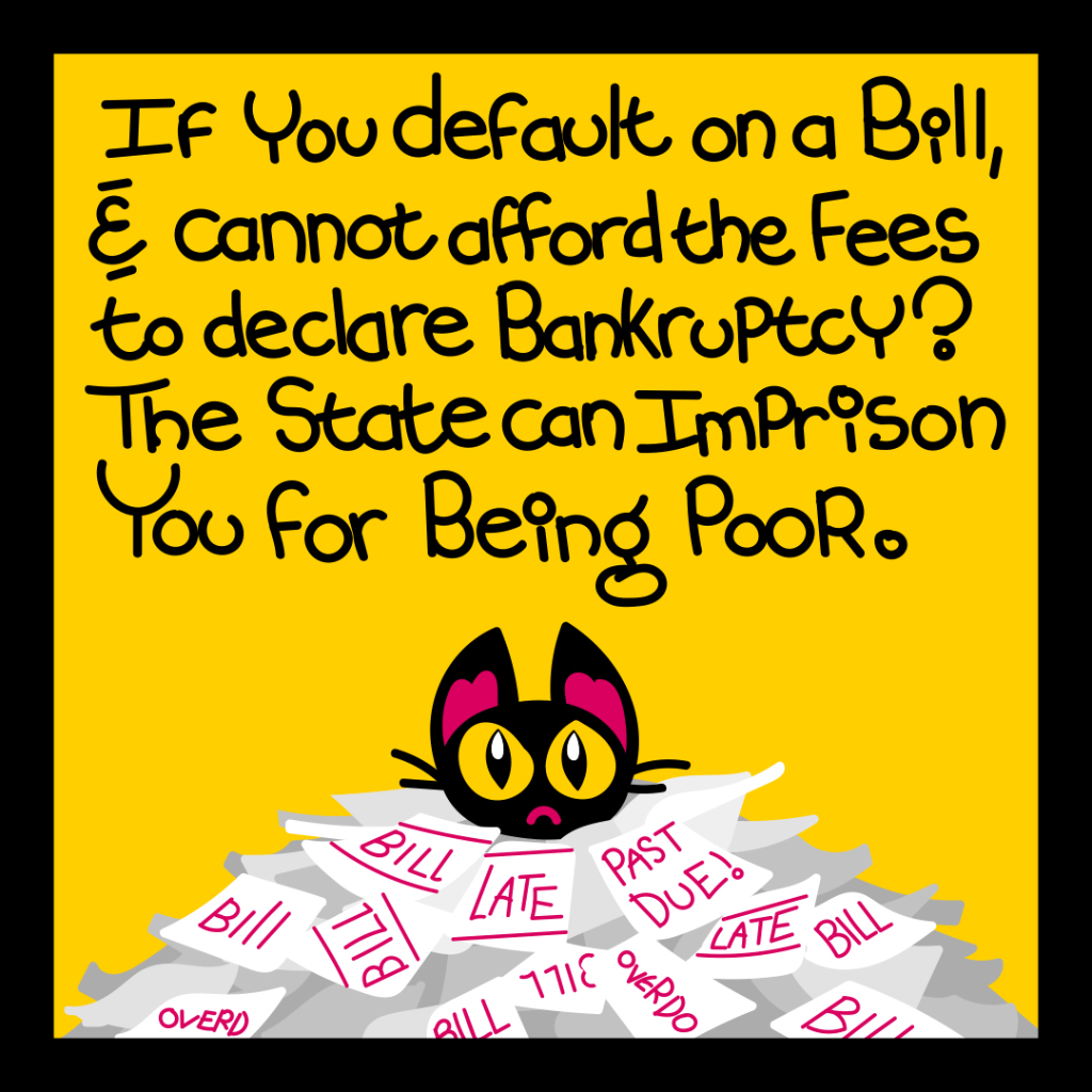 If you default on a bill and cannot afford the fees to declare bankruptcy? the state can imprison you for being poor.
