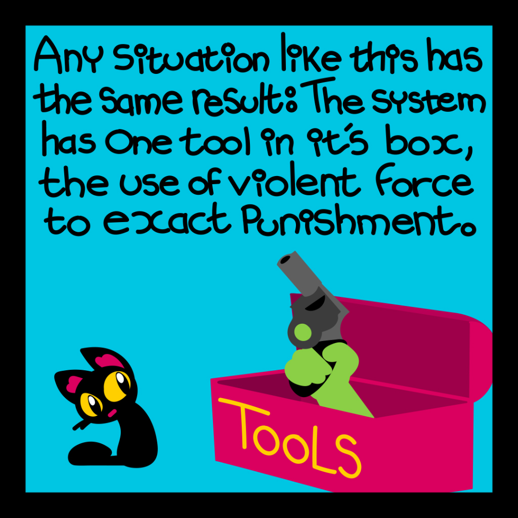 Any situation like this has the same result: the system has one tool in its box, the use of violent force to exact punishment.