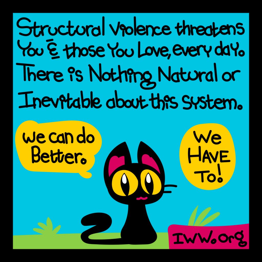 Structural violence threatens you and those you love every day. There is nothing nautal or inevitable about this system. We can do better. We have to!